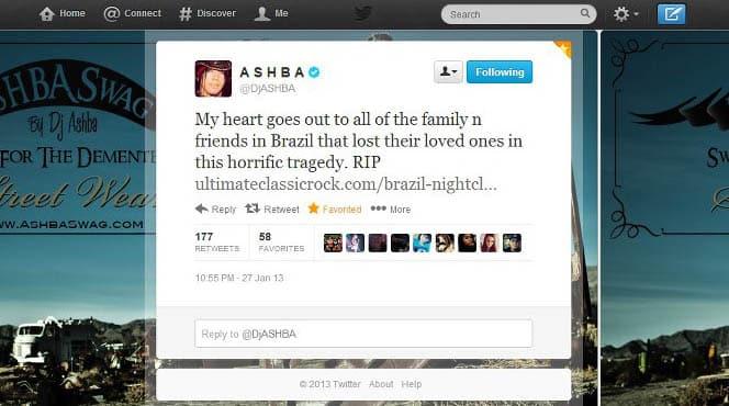 DJ Ashba condolências Twitter