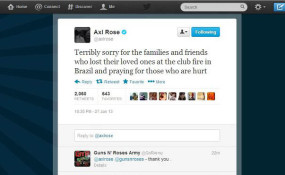 Axl Rose condolências Twitter