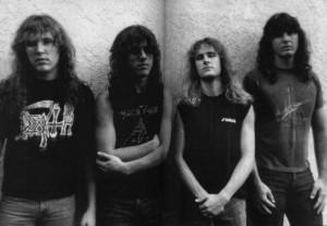 """Death em foto da época de """"Spiritual Healing"""" (da esq. pra dir.): James Murphy, Chuck Schuldiner, Bill Andrews e Terry Butler"""