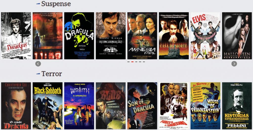 Página inicial exibe filmes por categoria | Captura de tela de 31/05