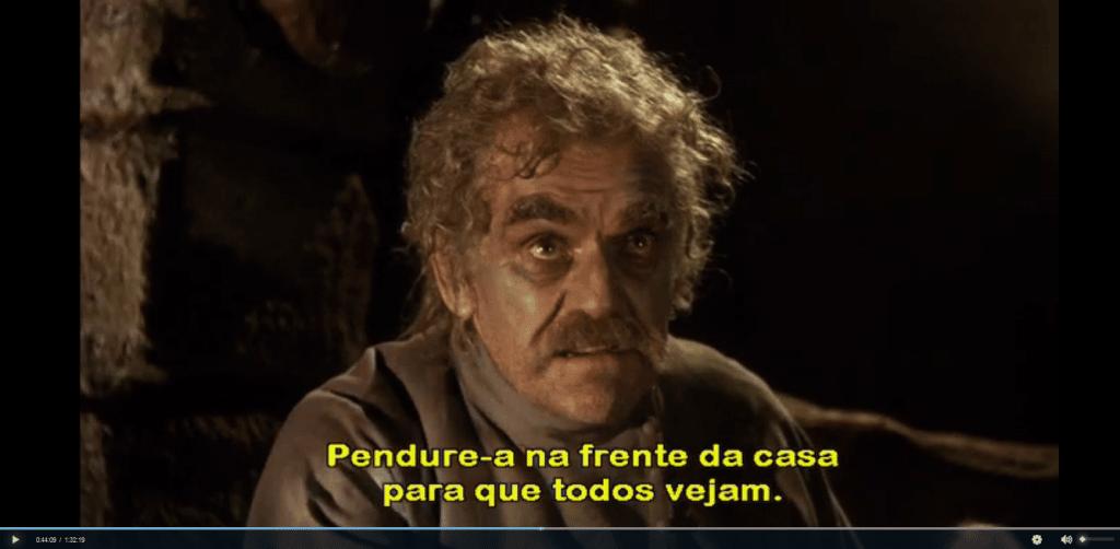 Captura de tela da reprodução do filme Black Sabbath.