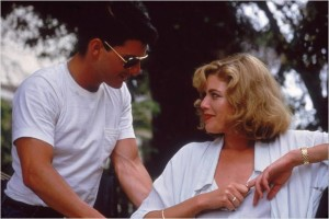 Na foto, o par romântico do filme, Tom Cruise e Kelly McGillis