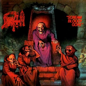 "Capa do primeiro álbum da banda ""Scream Bloody Gore"""