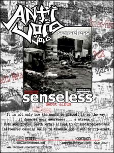"""Flyer de divulgação de """"Senseless""""."""