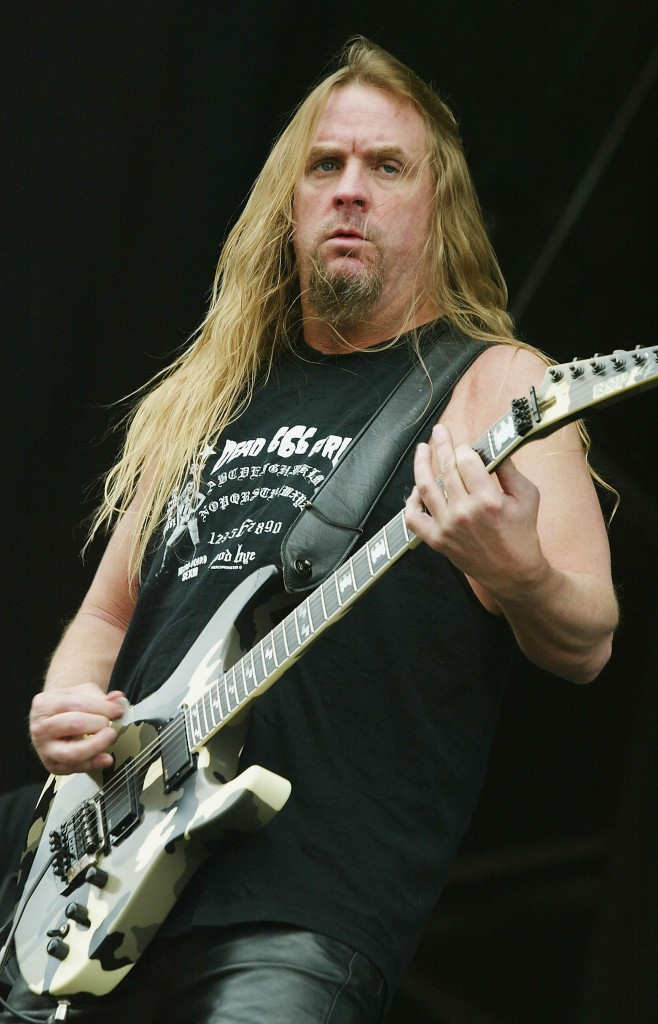 LEICESTERSHIRE, ENGLAND - JUNE 12: Jeff Hanneman of Slayer performs on stage on at the third and final day of this year's Download Festival at Donington Park, Castle Donington on June 12, 2005 in Leicestershire, England. The annual rock festival features over 90 acts on three stages over three days. (Photo by Jo Hale/Getty Images)